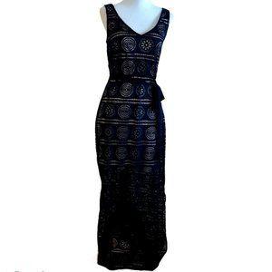 Sharagano, Lacey V-Neck Sleeveless Dress